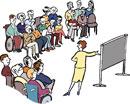 eine Fach-Frau spricht auf einer Tagung vor unterschiedlichen Menschen.