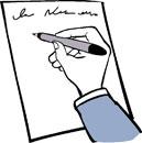 Eine Hand schreibt einen Text.